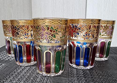 Set de 6 Vasos de Cristal para Té marroquí multicolor