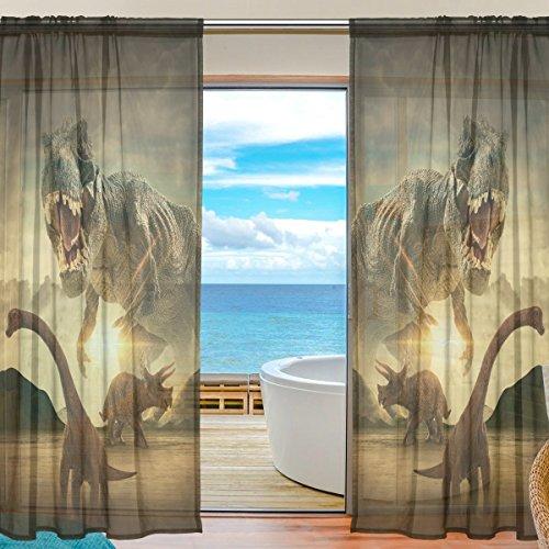yibaihe Fenster Vorhänge, Gardinen Platten Fenster Behandlung Set Voile Drapes Tüll Vorhänge Fierce Dinosaurier 213cm lang für Wohnzimmer Schlafzimmer Girl 's Room, 2Platten