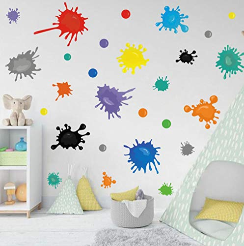 Multicolor Paint Wall Decal, Splatter and Splotches Wall Sticker for Art Room Nursery Decoration, Watercolor Paint Splash Room Decor Ink Splotch Wall Stickers