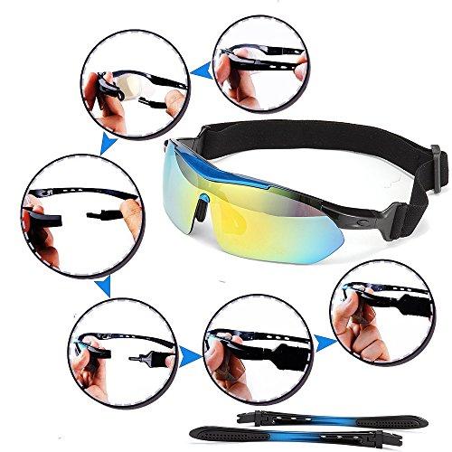 Sport Sonnenbrille Fahrradbrille Sportbrille mit UV400 5 Wechselgläser inkl Schwarze polarisierte Linse für Outdooraktivitäten wie Radfahren Laufen Klettern Autofahren Laufen Angeln Golf Unisex - 5