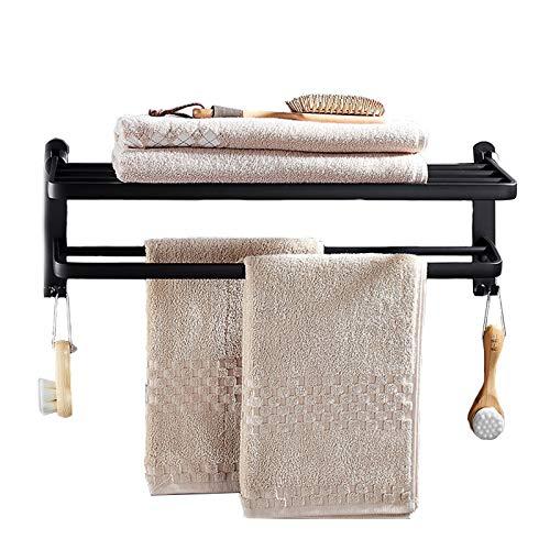 PENGYUYAN Badetuchstange, Handtuchhalter Ohne Bohren Wandmontage mit Haken 40/50 / 60cm Optional für Bad Küche und Toilette