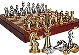 Lloow Juego de ajedrez de Madera Macizo de Estilo Retro de Bronce de Piezas de Metal, Ajedrez Especial Consejo Plegable para Adultos y Regalos para los niños y Plegable Ajedrez Juegos de Mesa 2020