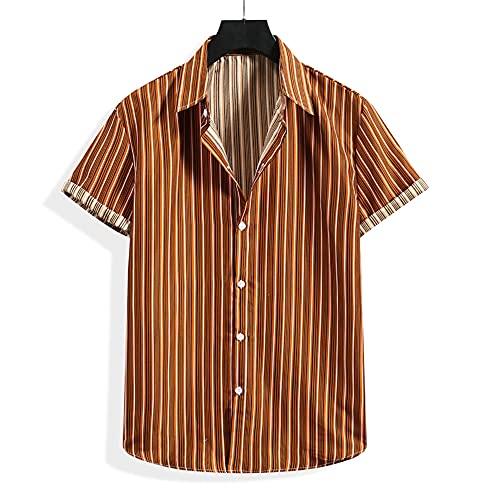 Camisa Hombre Verano Holgada Cuello V Botón Placket Hombre Camiseta Moderno Hawaiano Estilo Manga Corta Casual Vacaciones All-Match Hombre Casuales Camisa C-003 XXL