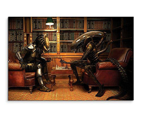 Alien vs Predator Playing Chess Wandbild 120x80cm XXL Bilder und Kunstdrucke auf Leinwand