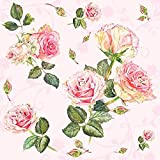 Ambiente - Confezione da 20 tovaglioli di carta a 3 veli, formato pranzo, 33 x 33 cm, Rosie Rose