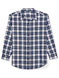 Amazon Essentials Men's Big & Tall Long-Sleeve Plaid Flannel Shirt, Blue/White, 4X Tall