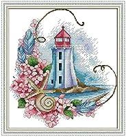 刺繍キットクロスステッチ刺しゅう工芸品沿岸灯台刺繍初心者手作りのの針仕事(11CT)大人の子供手芸ギフトキット家具装飾40x50cm,アユニークな家の装飾