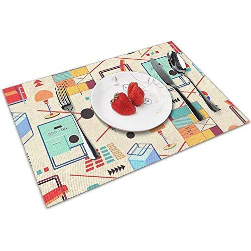 Strawberryran Bauhaus Möbel Tischsets für Esstisch, abwaschbares Tischset, hitzebeständiges 6er-Set (12 x 18 Zoll)