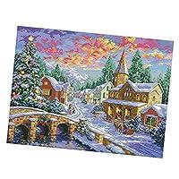 クロスステッチキット 印刷パターン DIY 手作り 刺繍キット 贈り物 全3種 - 冬の村67x52cm