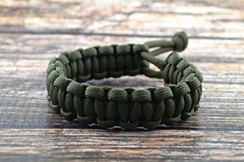 """Mad Max Fury Road Tom Hardy Paracord Adjustable Survival Bracelet - OD Green - Size 7.5"""""""