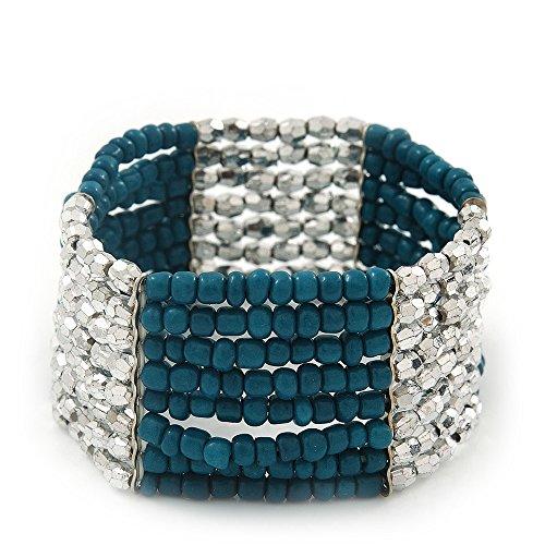 Multifilar/azul de zapato de cristal de plata pulsera elástica con cuentas acrílicas - 18 cm, longitud