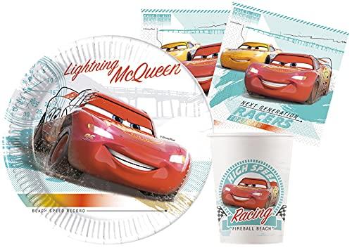 Ciao- Kit Party Tavola Disney Cars High Speed in carta FSC compostabile per 24 persone (88 pezzi: 24 piatti Ø23cm, 24 bicchieri, 40 tovaglioli), Y6169