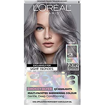 L'Oreal Paris Feria Multi-Faceted Shimmering Permanent Hair Color, Smokey Silver, Pack of 1, Hair Dye