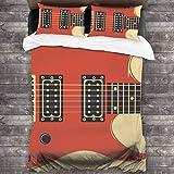 JOJOshop Juego de cobertor de 3 Piezas para Guitarra eléctrica Retro, Juego de Colcha con Corbatas Ocultas en Las Esquinas, Juego de sábanas térmicas de 86 x 70 Pulgadas