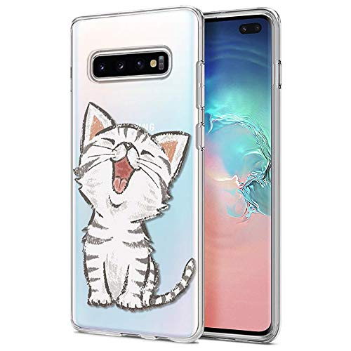 ZhuoFan Samsung Galaxy S10 Plus Hülle, Schutzhülle Silikon Transparent mit Muster Handyhülle Ultra Dünn Slim Stoßfest Weich TPU Bumper Case Backcover für Samsung Galaxy S10 Plus, Lächelnde Katze