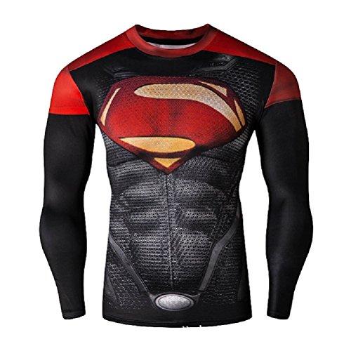 Camiseta Born2Ride, de superhéroe, para disfraz, gimnasio, montar en bici, talla XL, diseño de Superman rojo y negro, manga larga