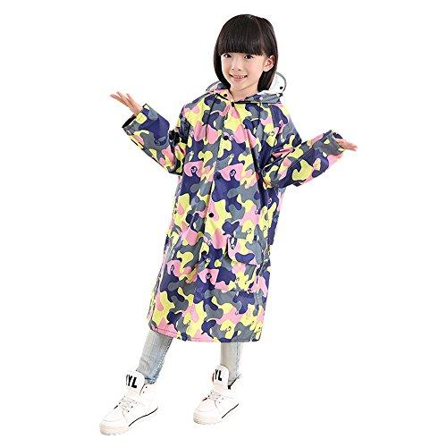 Dinglihuaqu Kinder-regenponcho Kinderen Raincoat regentas poncho kleur camouflage lang XX-Large