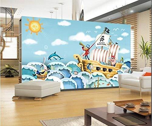 QFAZO Papel pintado personalizado mural pegatinas Hd dibujado a mano dibujos animados barco pirata pintura adorno TV ajuste 3D papel de pared, 300x210 cm (118,1 por 82,7 pulgadas)