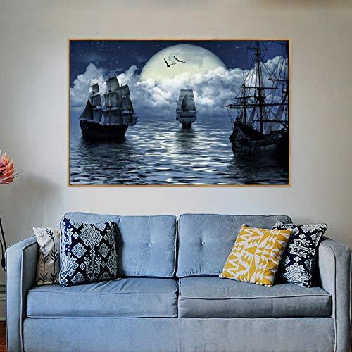 Leinwanddruck Abstrakte Seelandschaft Poster Und Drucke Wandkunst Leinwand Gemälde Piratenschiff Segeln Bilder Für Wohnzimmer Nach Hause