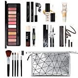 All in One Makeup Kit, 12 Colors Eyeshadow Palette, 5PCS Brush Set, Eyebrow Pencil, Eyeliner & Mascara, Contour Foundation Stick, Makeup Primer and Liquid Highlighter With Cosmetic Bag Makeup Set