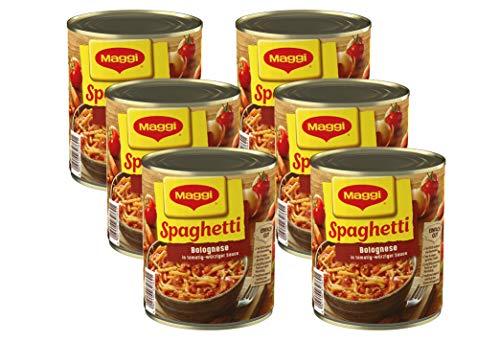 Maggi Spaghetti Bolognese | Nudelgericht mit Fleisch- und Tomatensauce | Nach italienischem Rezept | Mit Gemüse | Fertiggericht zum Kochen | Ohne Geschmacksverstärker | 6er Pack (6 x 810 g Dose)