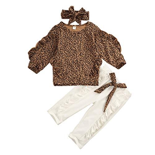 Completo Bambina 3 Pezzi Felpa Leopardato Pullover Manica Volante Lunga con Pizzo+Pantaloni Lunghi con Pizzo con Fiocco Leopardato+Fascia Fiocco Leopardata (Marrone, 3-4 Anni)