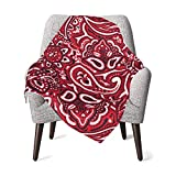 Paisley Bandana Red Baby Blanket for Girls Super Soft Double Layer Minky with Dotted Backing Receiving Blanket Multicolor Printed Blanket 30 X 40 Inch