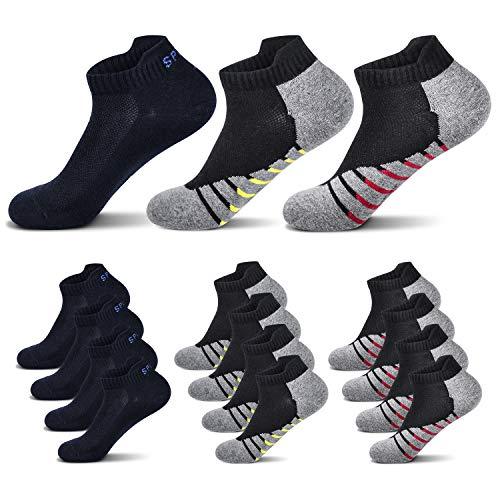 Fullluwaa 6/12 Paar Sneaker Socken Herren Damen Kurze Halbsocken Sportsocken Männer Baumwolle(Schwarz x4/Rot x4/Gelb x4, 43-46)
