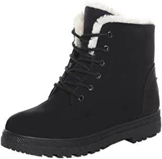 SHIBEVER Winter Boots for Women Platform Cotton Warm Fur Snow Ankle Boot Lace Up Flat Booties Cute Plus Size Shoes