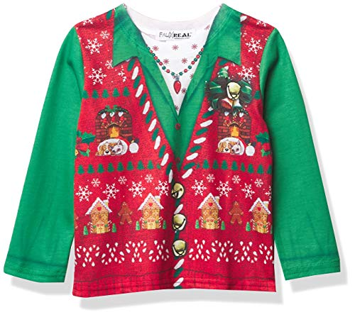 Faux Real Kids Sublimated Toddler Faux Holiday Long Sleeve T-Shirt, Xmas Vest, 2T