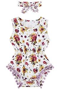 chicolife Baby Girl Rompers 0-3 meses Print Camellia Body Hippie Bright Colors Cute Jumper + Headband Nieta Infant Wiggly Girl Traje de sol de dos piezas Sweet Cartoon Newborn Children Wearing