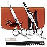 Candure - 5.5' tijeras de peluquería profesional - Deep Negro - tijeras de peluquería - Tornillo Fijar pelo de peluquería tijeras del corte del peluquero y salón de adelgazamiento Tijeras Set