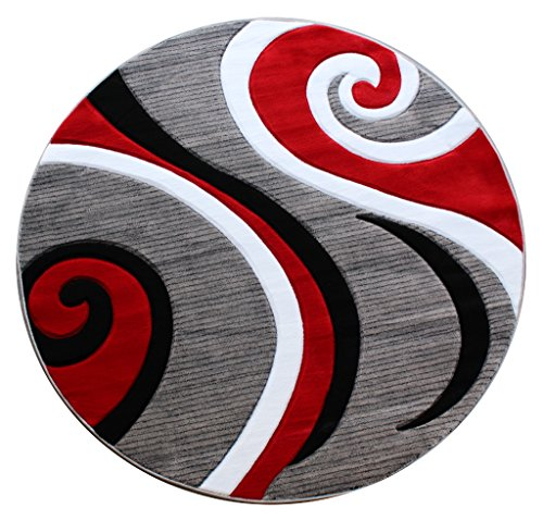 Masada Rugs, Sophia Collection Hand Carved Area Rug Modern Contemporary Red White Grey Black (8 Feet X 8 Feet) Round