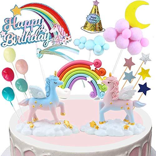 BOYATONG Einhorn Tortendeko Torte Topper Kuchen Deko für Mädchen Geburtstag,Happy Birthday Kuchendeko,Tortendeko Rose Gold, Cupcake Topper mit Sternen Liebe Konfetti-Luftballons und Papierfächer (B)