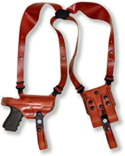 Premium Leather Horizontal Shoulder Holster System with Double Magazine Carrier for Browning B.H.P-HI Power 4.7''BBL, Right Hand Draw, Brown Color #1082#