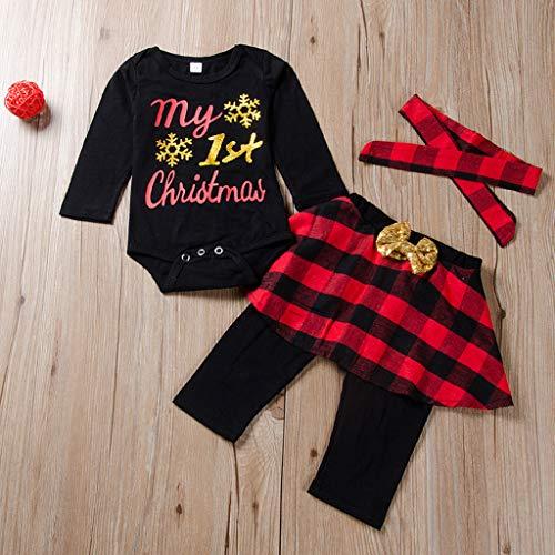 0-2 Años,SO-buts Recién Nacido Bebé Niña Carta De Navidad Mameluco De Manga Larga Mono Pantalones a Cuadros Falda Diadema Casual Pijamas Trajes (Negro,18-24 meses)