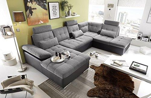 moebel-guenstig24.de Couch Jakarta Wohnlandschaft Sofa Lederlook Schlaffunktion Schlafsofa schwarz grau hell Gemustert Ottomane rechts 324 cm