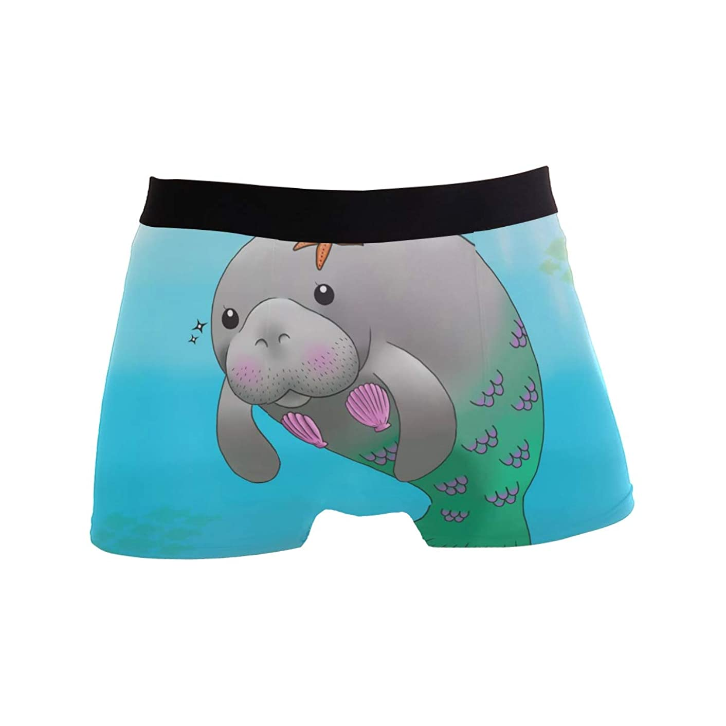 Manatee Mermaid Men's Boxer Briefs Regular Soft Breathable Comfortable Underwear