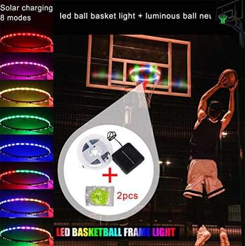 LED Basketball Rim Licht, Leuchten Basketballkorb, Solarladung 8 Beleuchtung Modi Intelligente Automatische Induktion Inklusive Zwei Leuchtende Basketballkörben Wasserdicht Einfache Installation