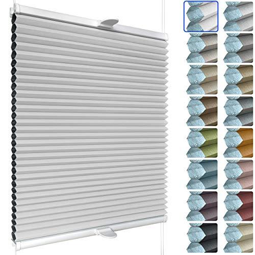 SchattenFreude Waben-Plissee für Fenster | 100% verdunkelnd/Blackout | Mit Klemm-Haltern | Klemmfix ohne Bohren | Weiß (Weiße Rückseite), Breite: 90cm x Höhe: 130cm