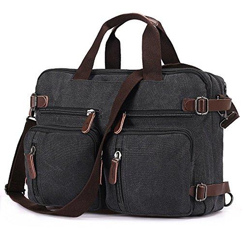 BAOSHA HB-22 Vintage Leinwand Herren Aktenkoffer Rucksäcke Arbeitstasche Laptoptasche bis zu 17 Zoll