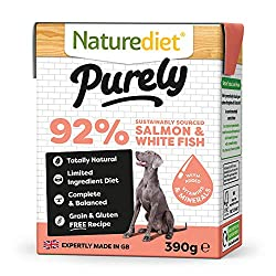 Pack of 18, 390g delicious, 100% natural, complete meals Made in Naturediet's Norfolk factory with locally sourced ingredients Eco-packed in 100% recyclable cartons 100% natural, limited ingredients. A grain and gluten free recipe Free from eggs, dai...