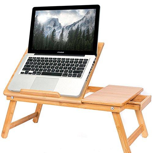 BAKAJI Tavolino Vassoio Letto Artista Divano Porta Notebook Pc Tablet, con cassetro, Pieghevole in Legno Bambu Bamboo 55 x 33 x 24 cm