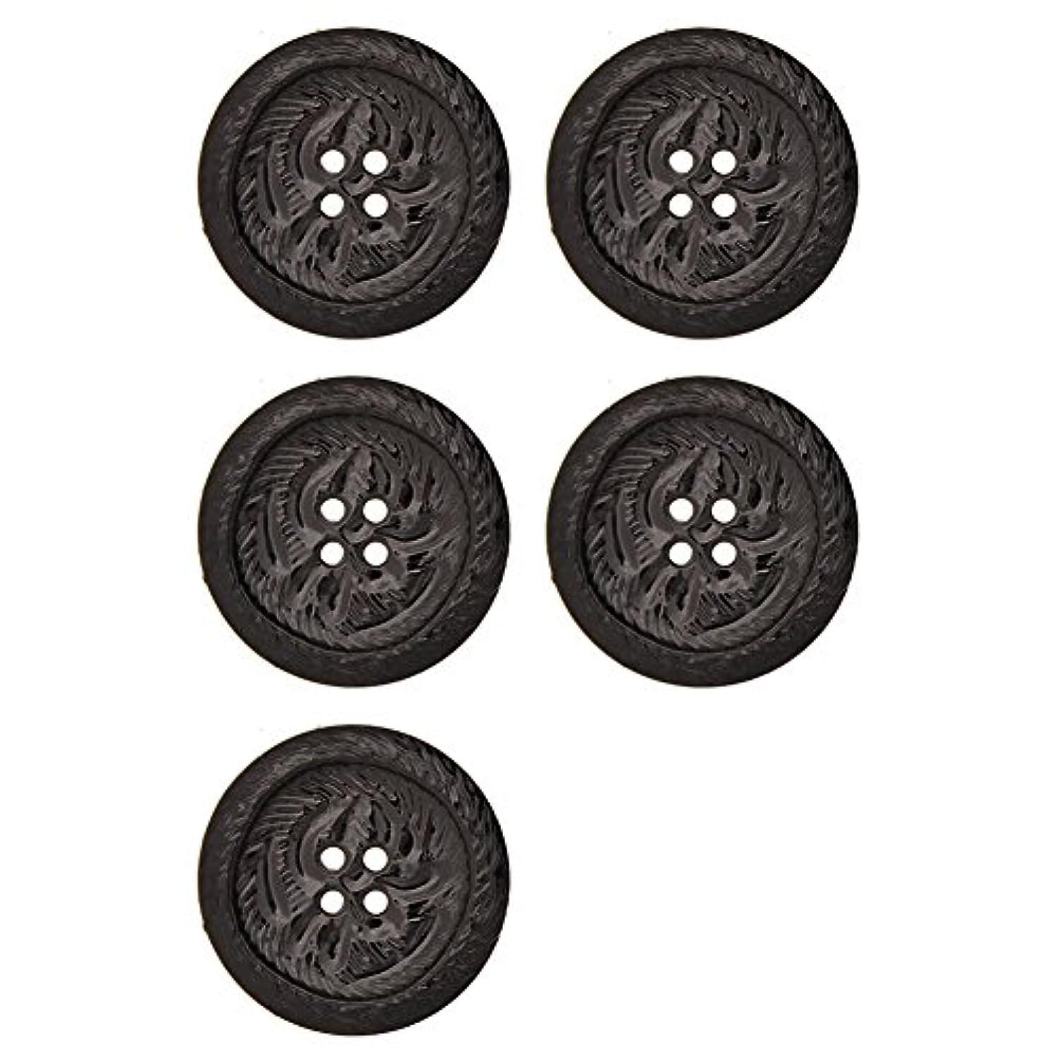 Pearlized Finish Button 4 Hole Jungle Design Imprint 54 Line Black Pearl