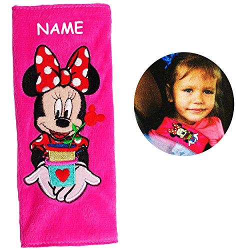 alles-meine.de GmbH Gurtschoner / Gurtpolster -  Disney Minnie Mouse  - incl. Name - Gurtschutz - für Sicherheitsgurt - Gurt Polster - für Auto / Kindersitz / Autoschale - Scho..