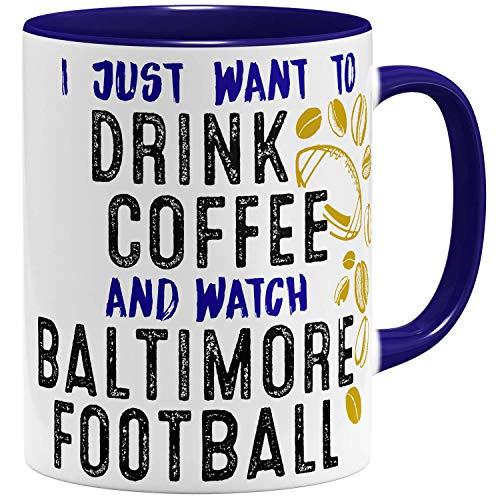 OM3® - Baltimore-Coffee - Tasse   Keramik Becher   American Football Mug   11oz 325ml   Beidseitig Bedruckt   Dunkelblau