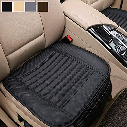 Car Seat Cushion, 1PC Breathable Car Interior Seat Cover Cushion Pad Mat for Auto Supplies Office Chair with PU Leather(Black)