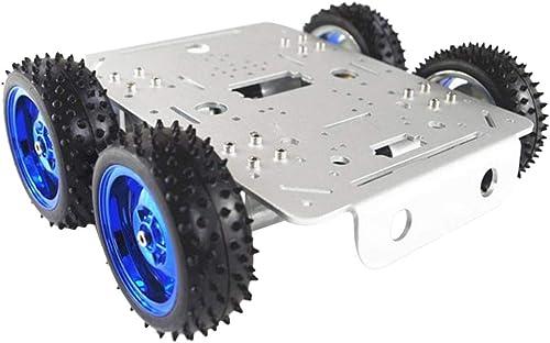 perfk Tracking Motor Smart Roboter Auto Fahrgestell Kit 4WD Aluminiumlegierung Gleichstrommotor - Silberchassis