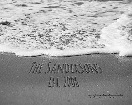 Family Names in the Sand Décor Personalized, Modern Family Names Custom, Names in Sand Print, Beach Themed Wall Décor, Customized Art Print Photo or Canvas
