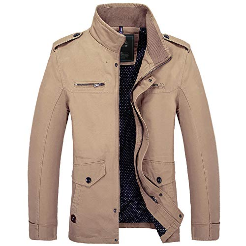 Mens Fitted Soft Real Leather Biker Jacket Vintage Casual Coat Men's jacket mid-length-khaki_XL